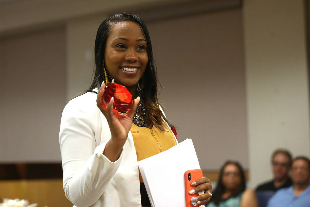 Family Advocate Breauna Trotter is recognized during the Truancy Diversion Program Judge Recogn ...
