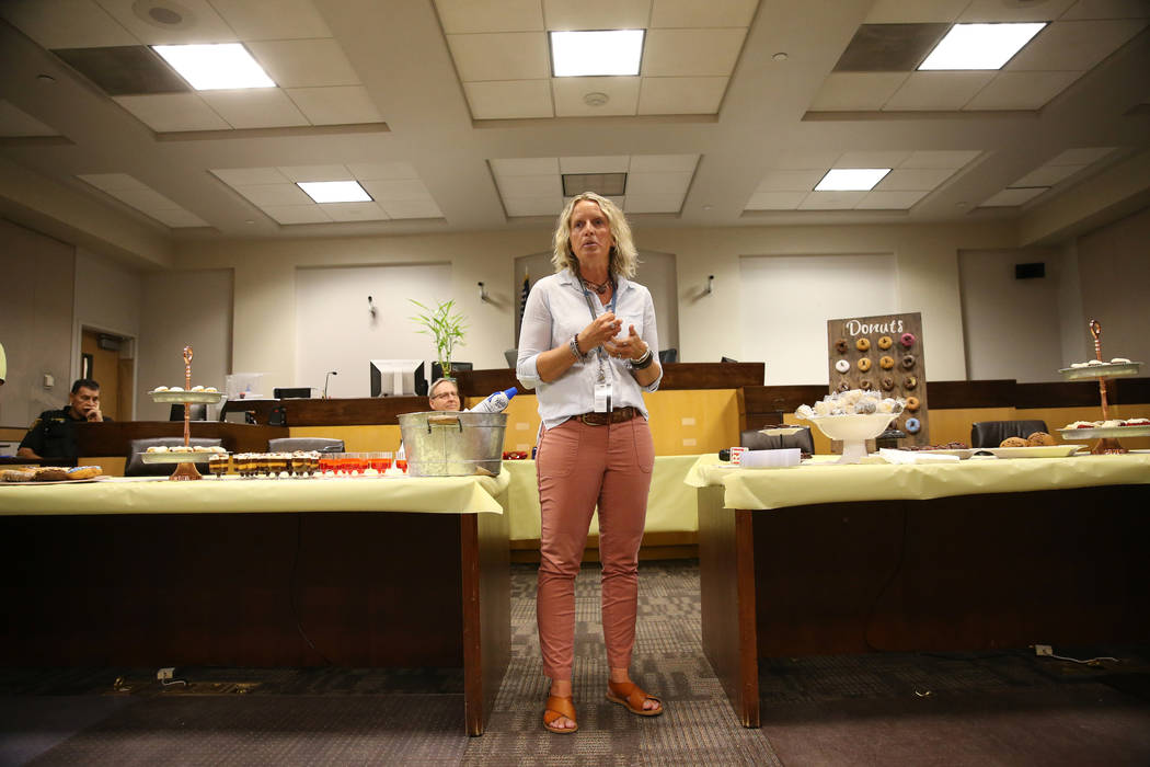Family Advocate Carrie Mauriello-Crozer speaks during the Truancy Diversion Program Judge Recog ...