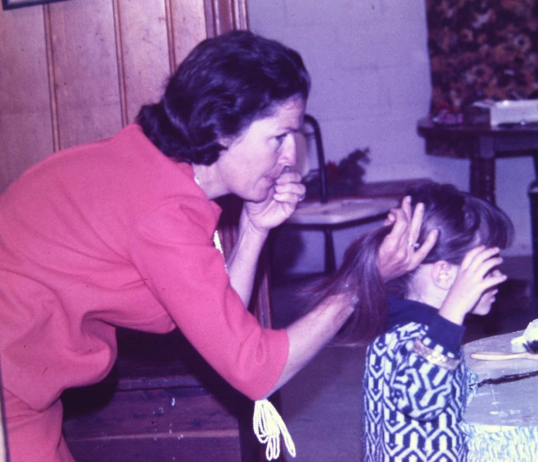 Melba Gafford, Lainey's mother, does Lainey Gafford-Topacio's hair in south Texas. (Lainey Gaff ...