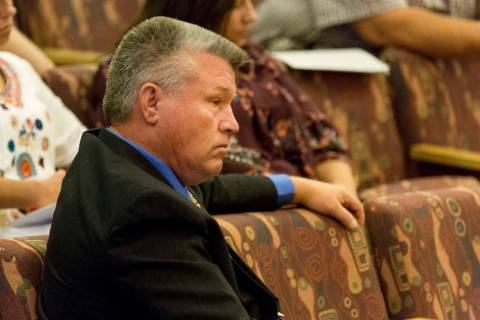 North Las Vegas Constable Robert Eliason appears before the Clark County Commission, Wednesday, ...