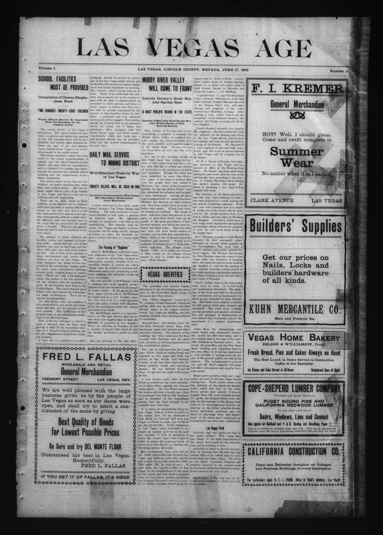 The June 17, 1905, edition of the Las Vegas Age. (UNLV Digital Collections)