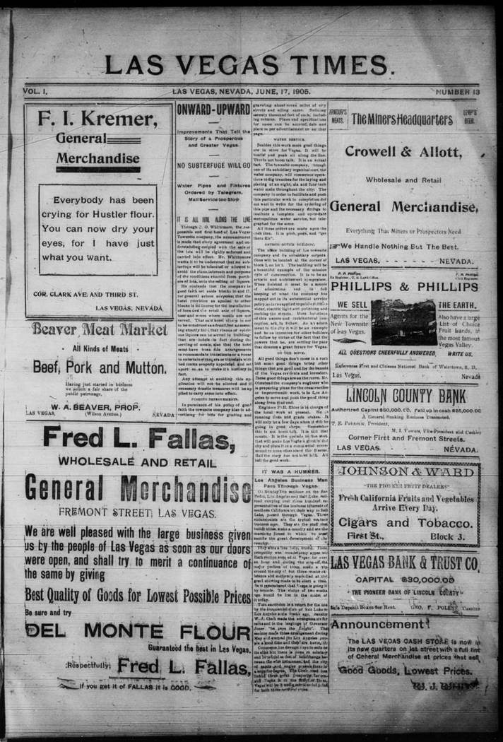 The June 17, 1905, edition of the Las Vegas Times. (UNLV Digital Collections)