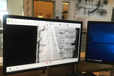 The microfilm versions of a newspaper page at UNLV Digital Collections. (Rachel Spacek/Las Vega ...
