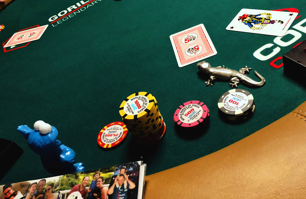 A joker card is mistakenly dealt during the The Big 50, a $500 buy-in, no-limit WSOP Hold'em to ...