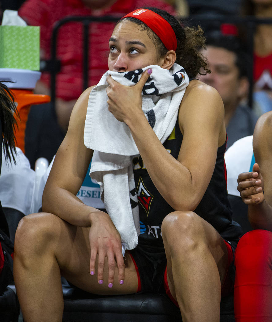 Las Vegas Aces forward Dearica Hamby (5) is a bit concerned while on the bench versus the Conne ...