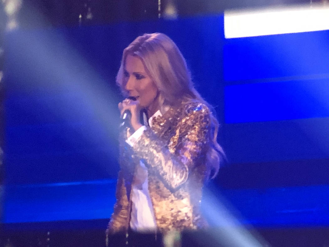 Celine Dion performs in her final show at the Colosseum at Caesars Palace on Saturday, June 8. ...