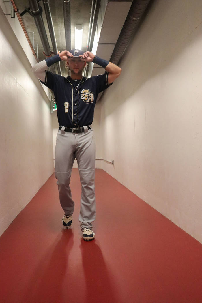 San Antonio infielder Jake Hager walks through the tunnel ahead of a game against the Aviators ...