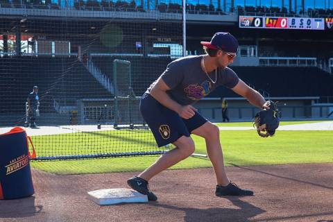 Former Sierra Vista standout Jake Hager warms up during his first visit to Las Vegas Ballpark i ...
