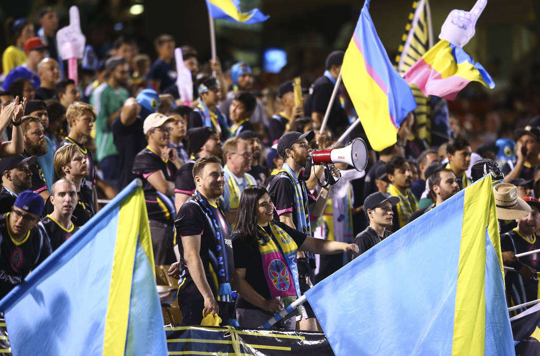 Las Vegas Lights FC fans cheer during a game in 2018. (Chase Stevens/Las Vegas Review-Journal)