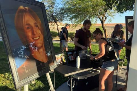 Desirea Roberts, 23, prepares for a vigil at Pebble Park in Henderson on Saturday, June 8, 2019 ...