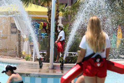 Lifeguards watch as parkgoers play at Cowabunga Bay Water Park in Henderson on Wednesday, June ...