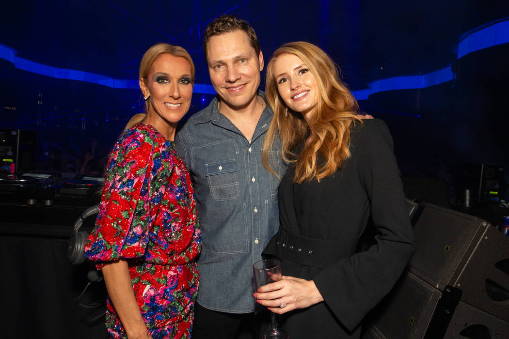 Celine Dion, Tiesto and his fiance, Annika Backes, celebrate the end of Dion's 16-Year run at t ...