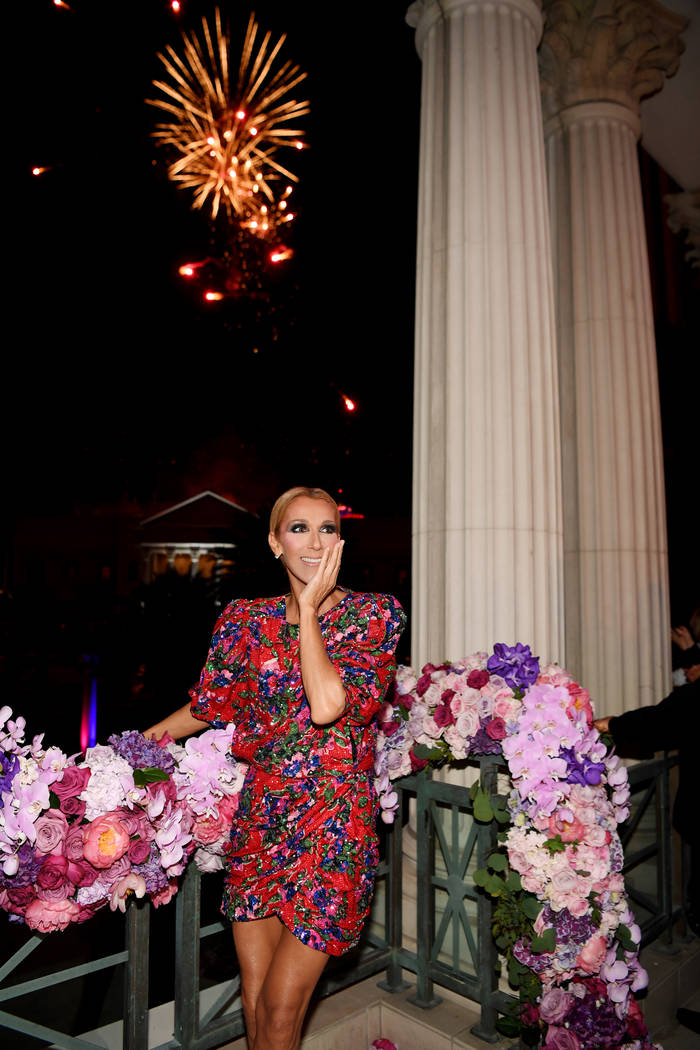 Celine Dion is shown during the fireworks show celebrating the end of her Las Vegas residency a ...