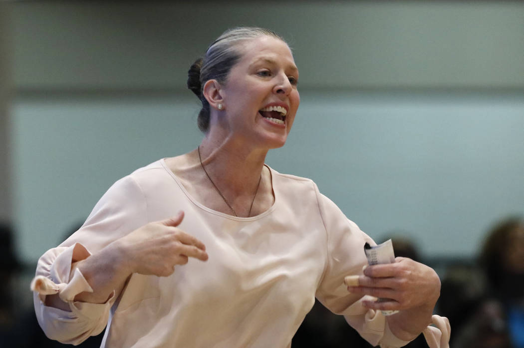 New York Liberty's head coach yells during the second half of a WNBA basketball game against th ...