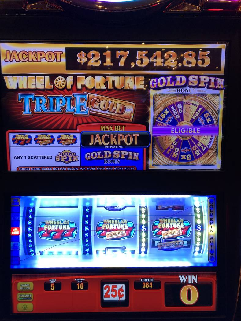 Ronnie Burnett of Midland, Texas, won $217,542.85 on the Wheel of Fortune machine at the Golden ...