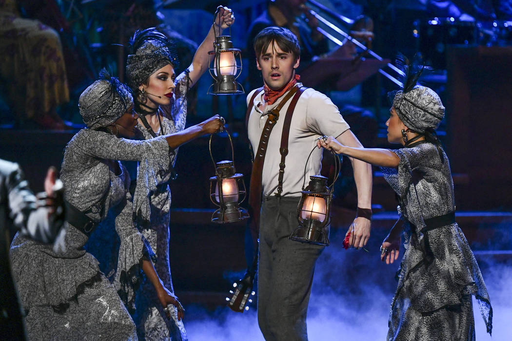 "Reeve Carney, of the cast of ""Hadestown"" performs at the 73rd annual Tony Awards at R ..."