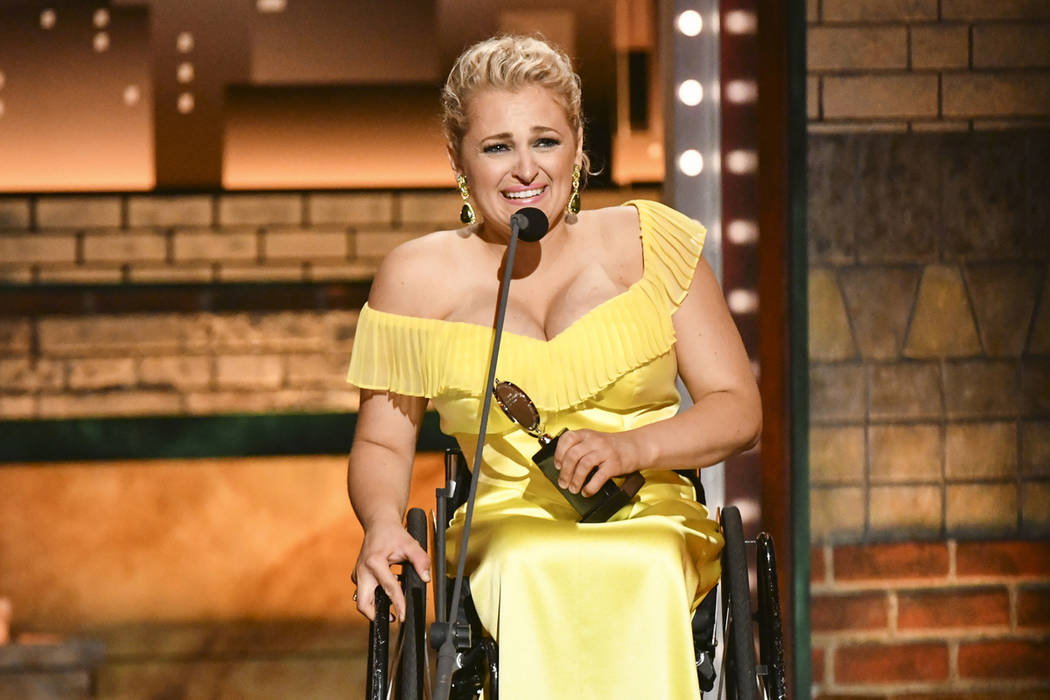Ali Stroker accepts the award for best performance by an actress in a featured role in a musica ...