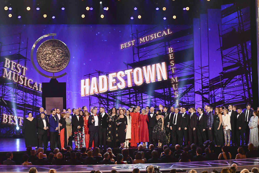 "The company of ""Hadestown,"" accept the award for best musical at the 73rd annual Tony ..."