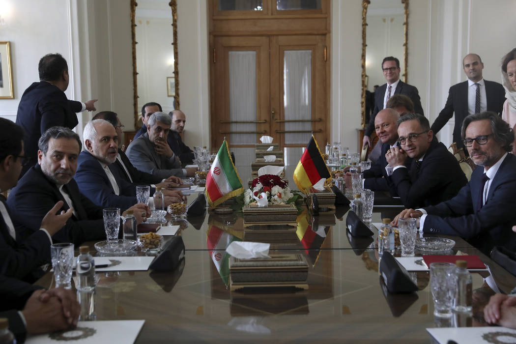 Iranian Foreign Minister Mohammad Javad Zarif, third left, and his German counterpart Heiko Maa ...
