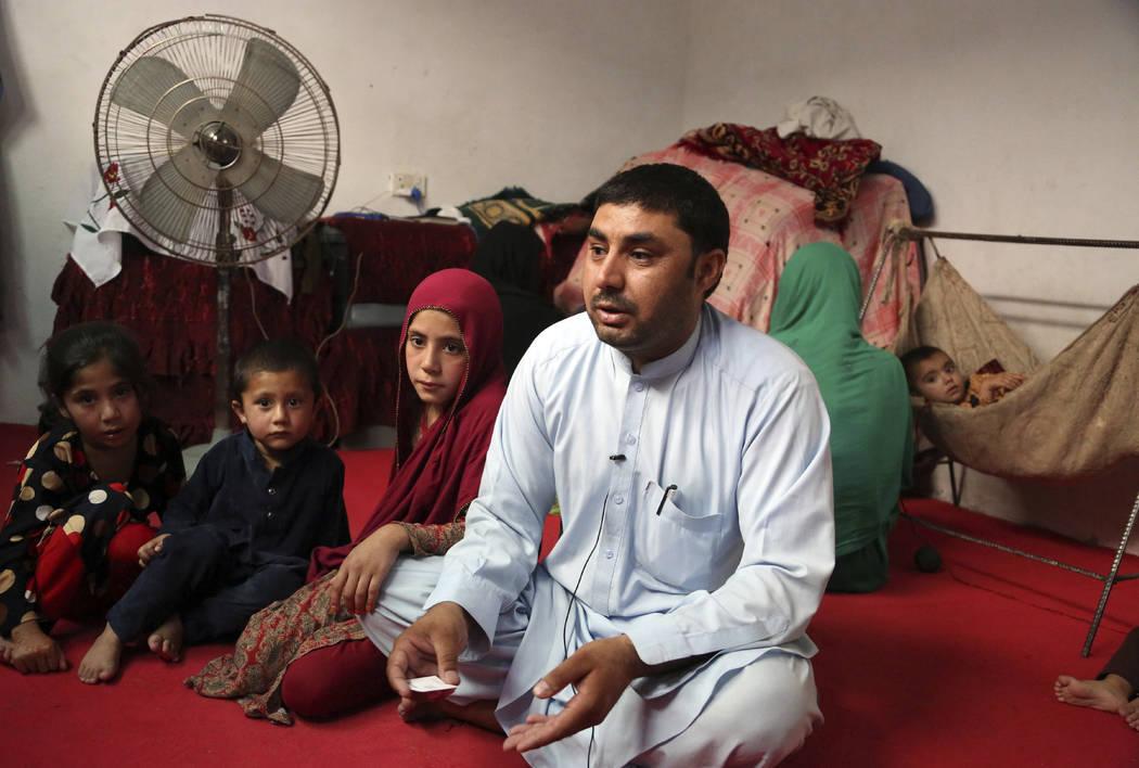 In this Thursday, May 30, 2019 photo, Farmanullah Shirzad who fled his village in Nangarhar pro ...