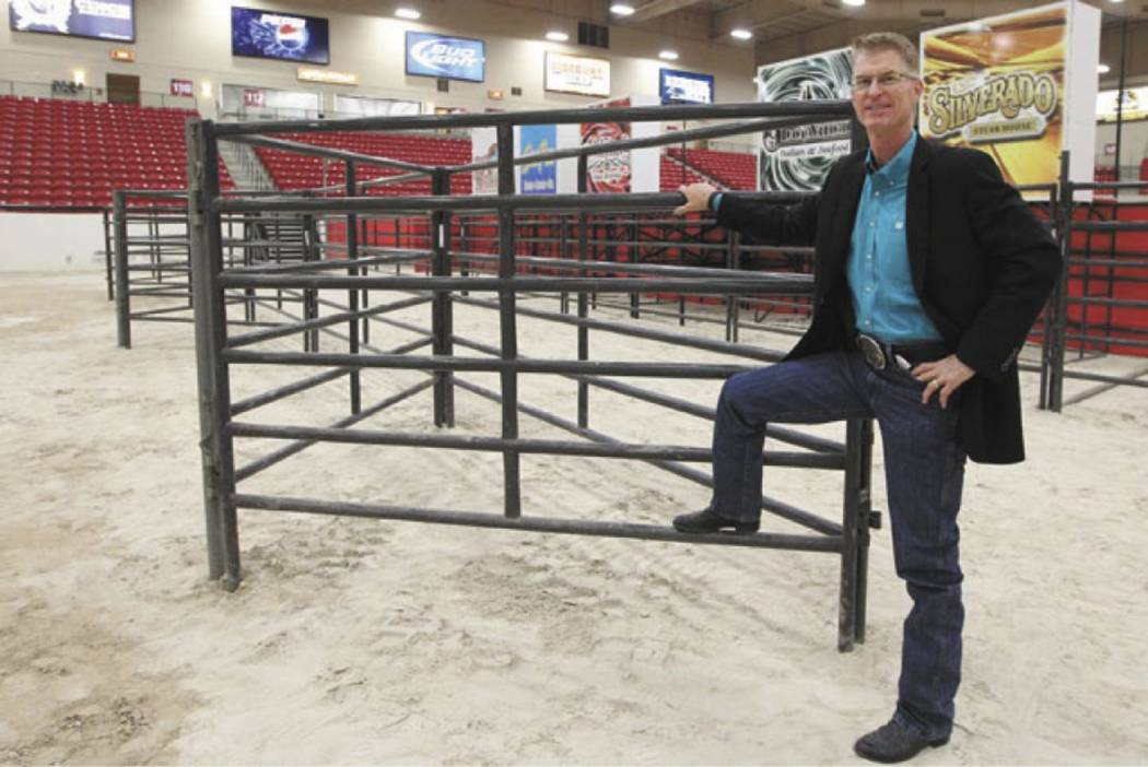 Steve Stallworth, South Point hotel-casino Arena general manager, poses in the arena at the hot ...