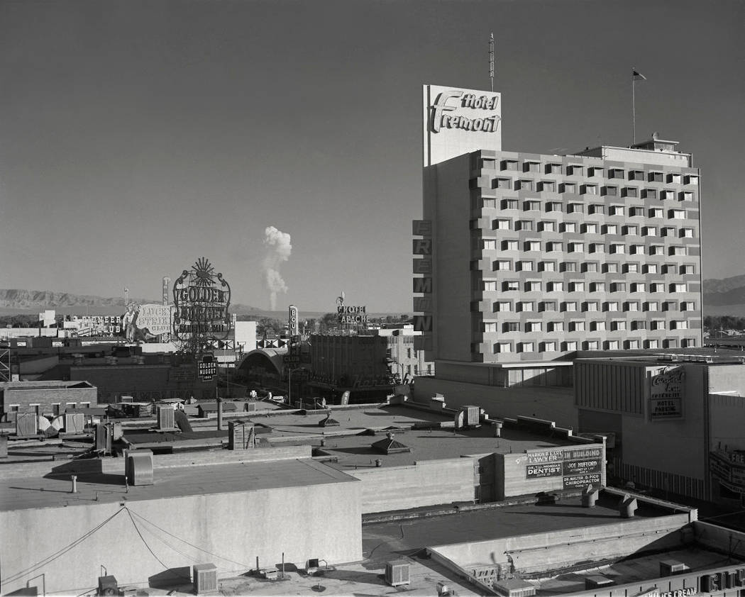 In this June 24, 1957, Las Vegas News Bureau's photo, a mushroom cloud is seen from the roof-to ...