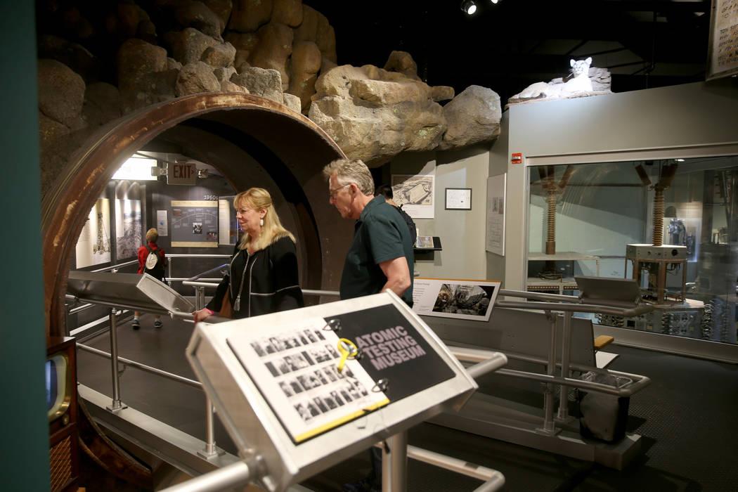 Sheryl Harmon and Brad Goldberg, both of Los Angeles, tour the National Atomic Testing Museum i ...