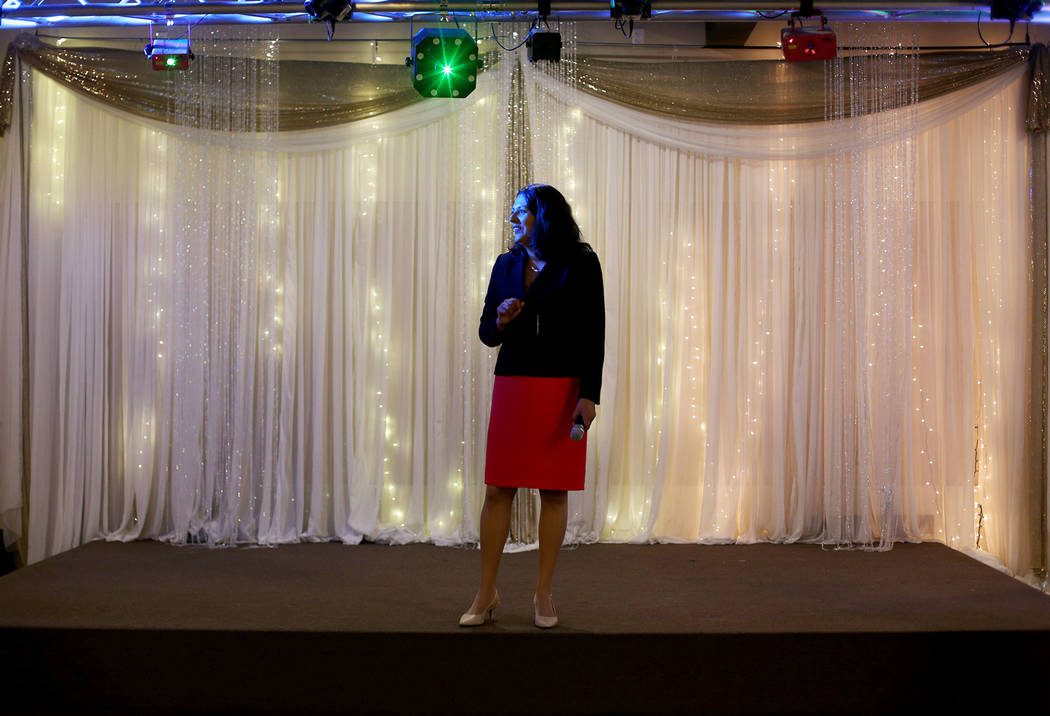 Former Assemblywoman Olivia Diaz addresses her supporters at a viewing party for her race for t ...