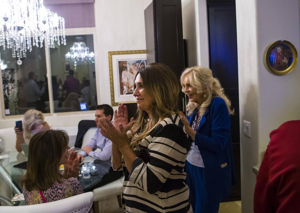 Las Vegas City Council Ward 2 candidate Victoria Seaman, a former Nevada assemblywoman, celebra ...