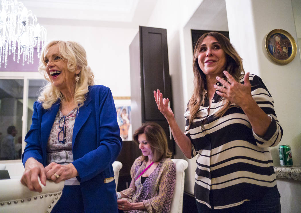 Las Vegas City Council Ward 2 candidate Victoria Seaman, a former Nevada assemblywoman, right, ...