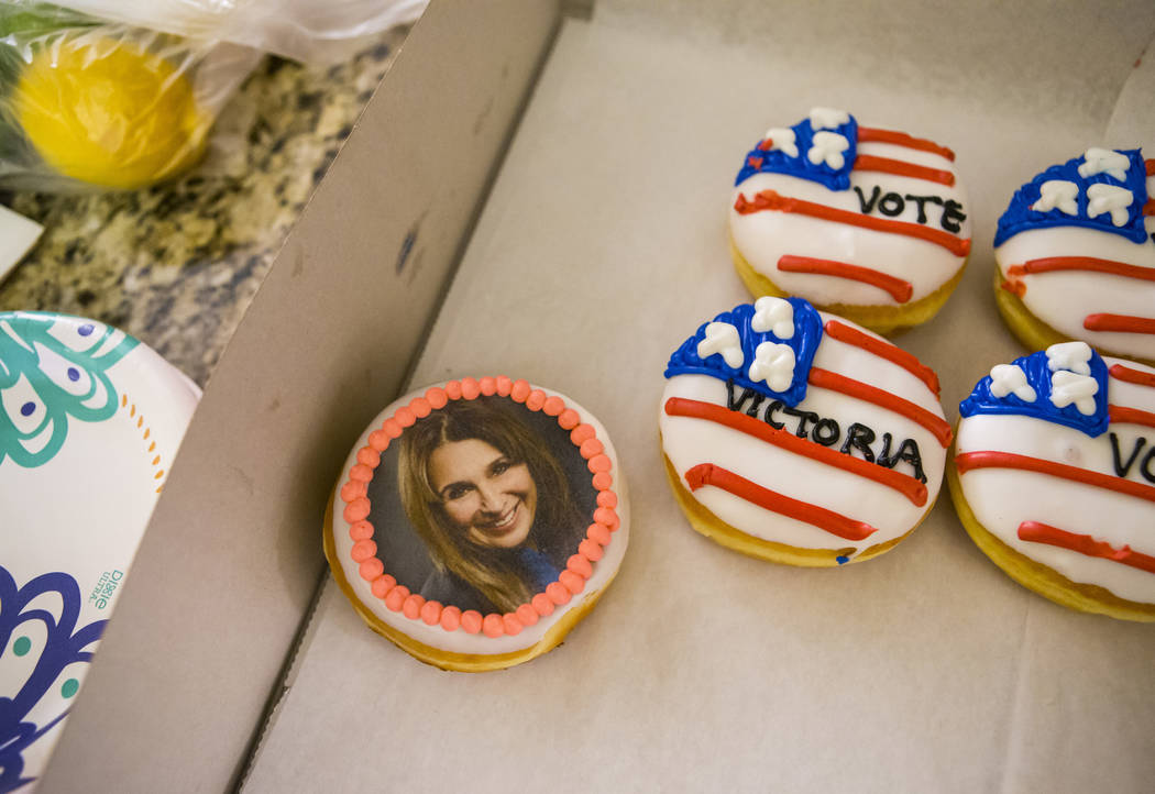 Donuts are served during an election night watch party for Las Vegas City Council Ward 2 candid ...