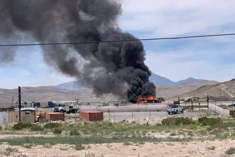 Vehicle fire on southbound Interstate 15 near St. Rose Parkway, Monday, June 10, 2019. (Twitter ...