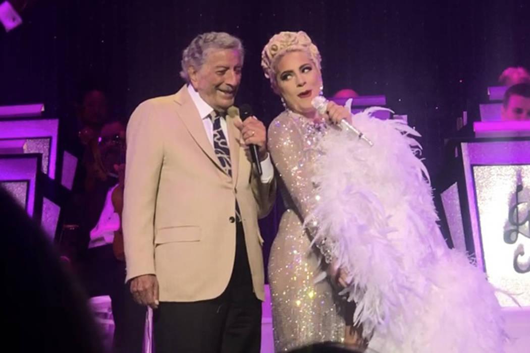 Tony Bennett and Lady Gaga perform at Park Theater on Sunday, June 9, 2019. (John Katsilometes/ ...