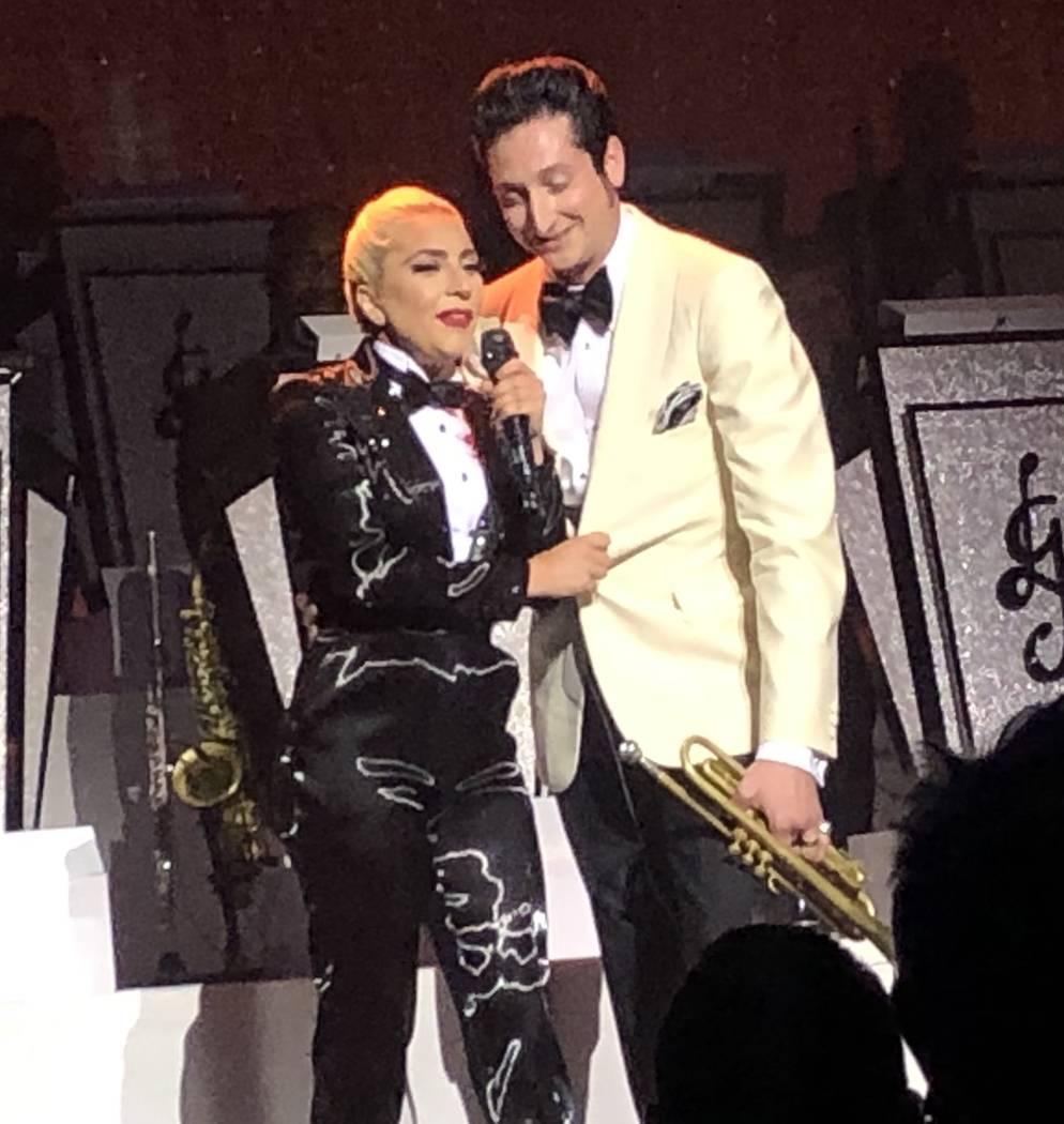 Lady Gaga and Brian Newman perform at Park Theater on Sunday, June 9, 2019. (John Katsilometes/ ...