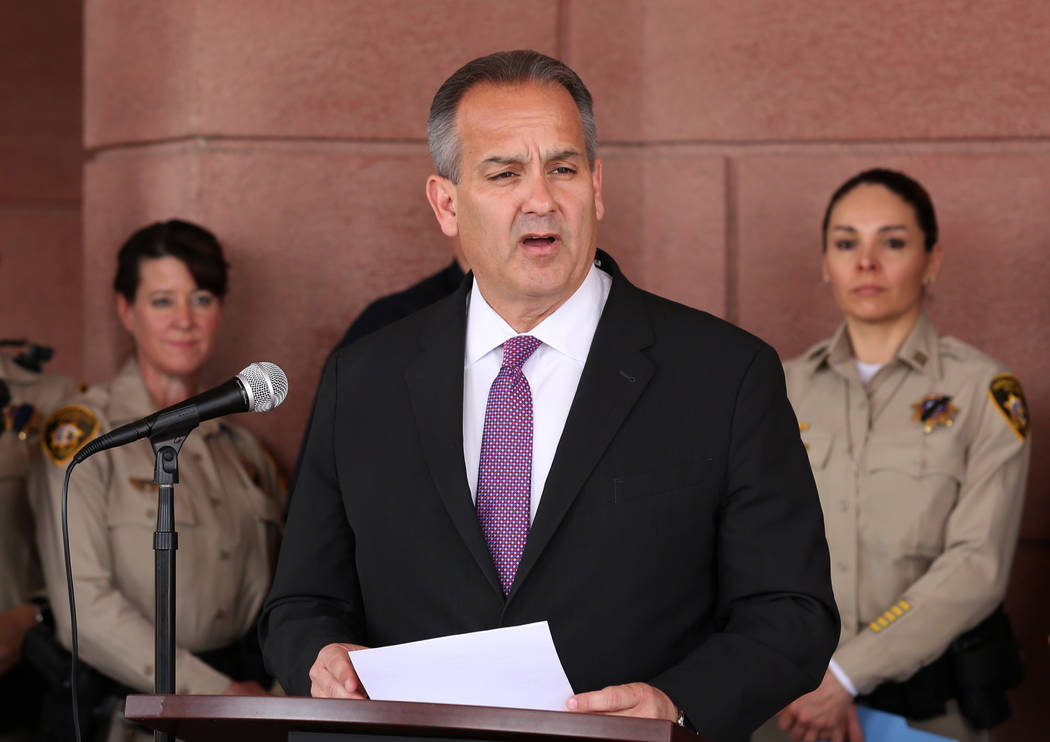 Clark County School Superintendent Dr. Jesus F. Jara, speaks during a press conference outside ...