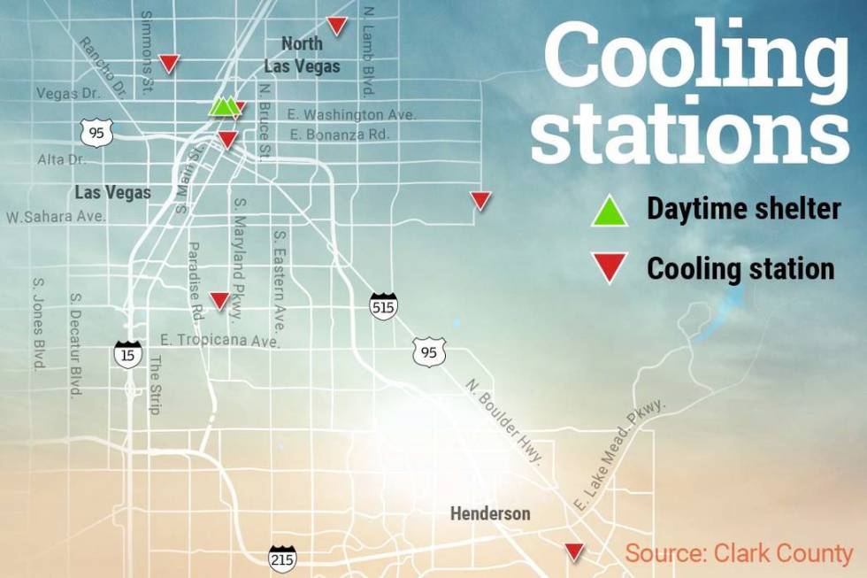 Cooling stations in Las Vegas (Wes Rand/Las Vegas Review-Journal)