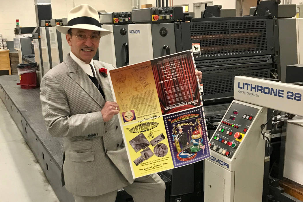The Duke of Fremont Street with the front and back covers of his first comic book at Royal Prin ...