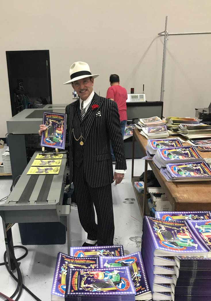 The Duke of Fremont Street waiting for his first comic book to finish printing 20,000 copies. D ...