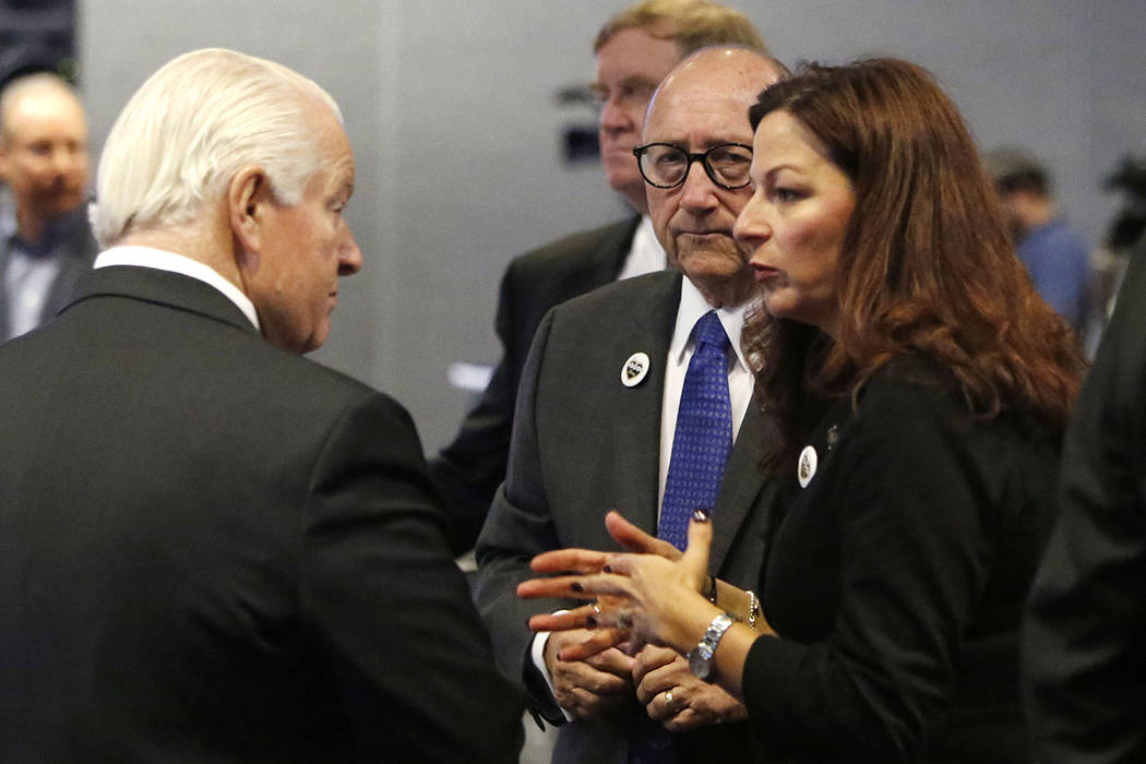 Roger Dow, left, the U.S. Travel Association president and CEO, Rossi Ralenkotter, center, pres ...