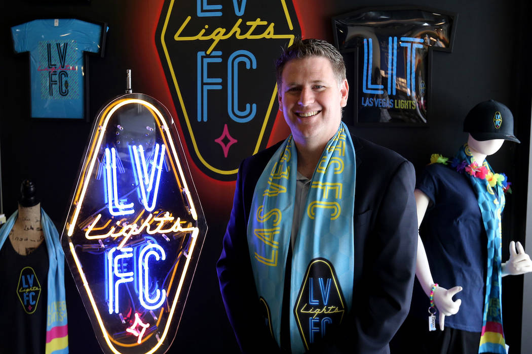 Lights FC owner Brett Lashbrook at soccer team's retail store on the Zappos campus in downtown ...