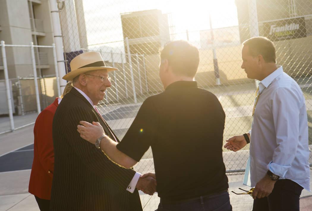 Former Mayor Oscar Goodman, with Mayor Carolyn Goodman, to the left, is greeted by Brett Lashbr ...