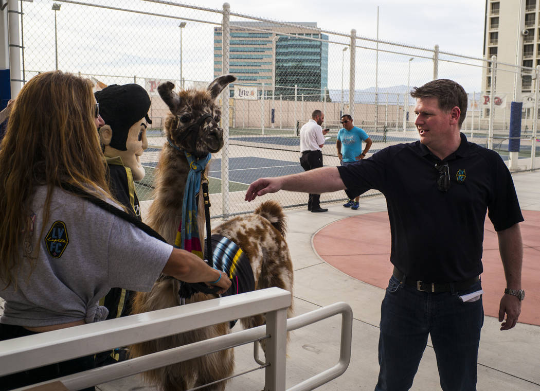 Brett Lashbrook, owner and CEO of Lights FC, greets a llama while preparing for the team's phot ...