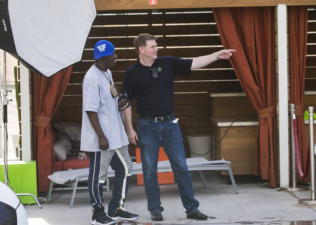 Brett Lashbrook, owner and CEO of Lights FC, talks with entertainer Flavor Flav ahead of the te ...