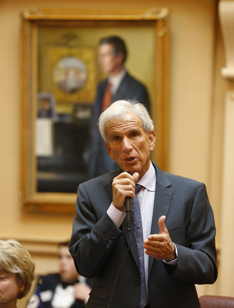 FILE - In a Tuesday, Jan. 20, 2015 file photo, Senate minority leader,Sen. Richard Saslaw, D-Fa ...