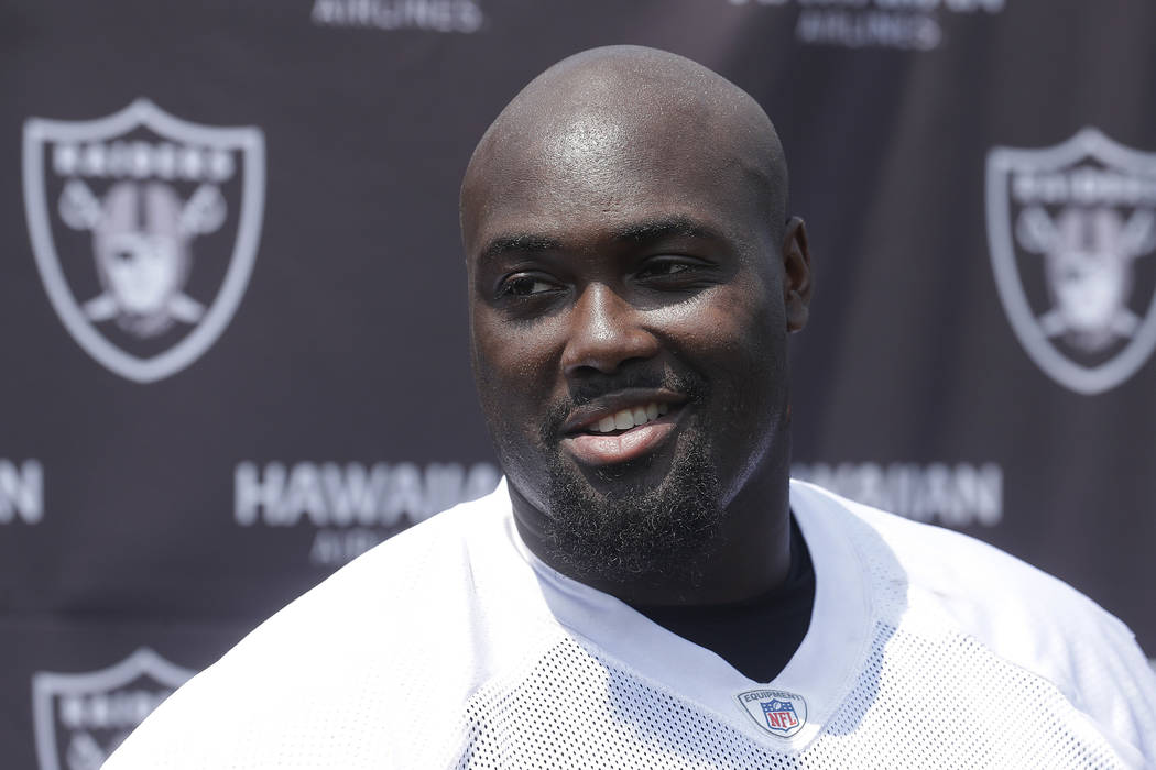 Oakland Raiders guard Rodney Hudson speaks to reporters after NFL football practice in Napa, Ca ...