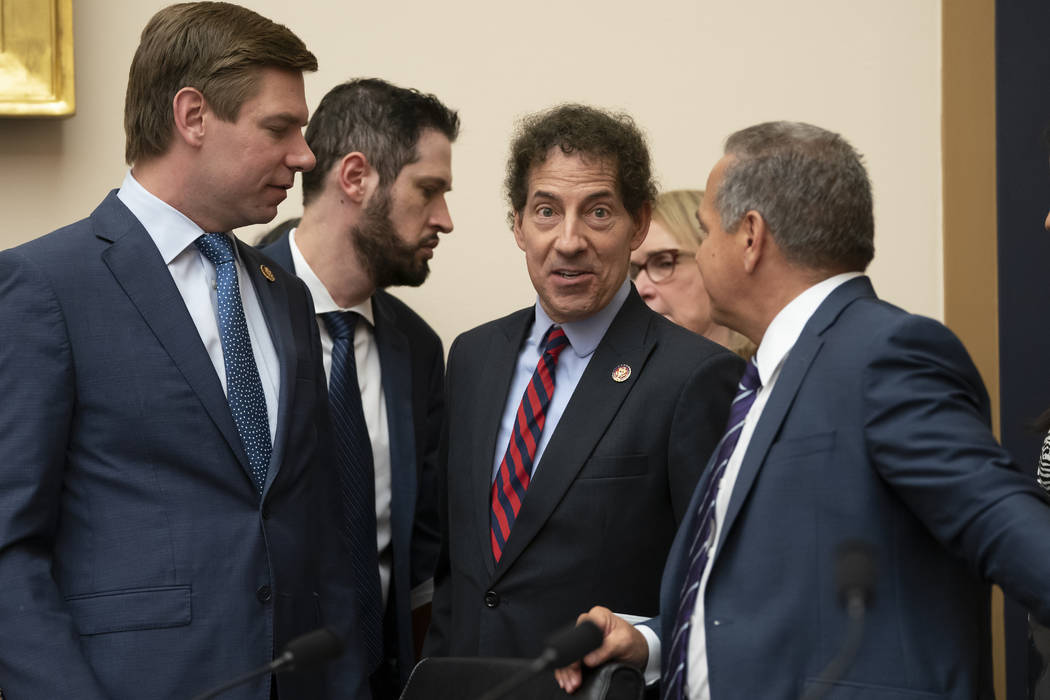 House Judiciary Committee members Rep. Eric Swalwell, D-Calif., far left, Rep. Jamie Raskin, D- ...
