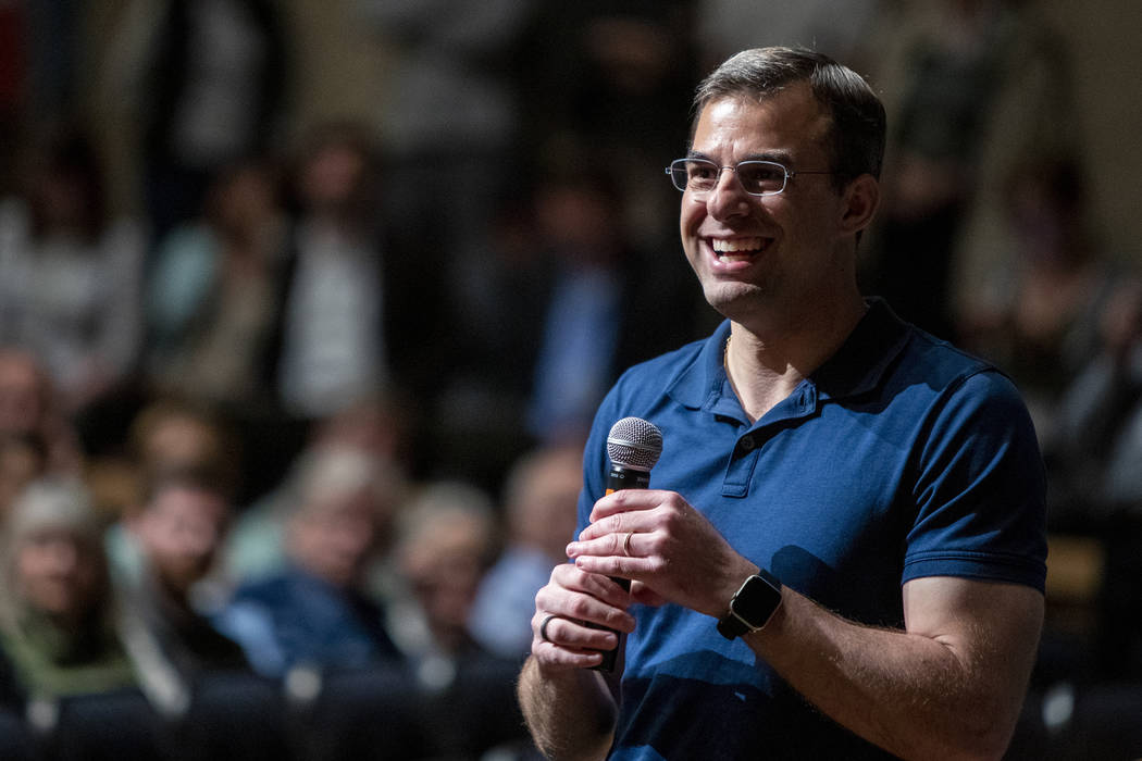 U.S. Rep. Justin Amash, R-Cascade Township, holds a town hall meeting at Grand Rapids Christian ...