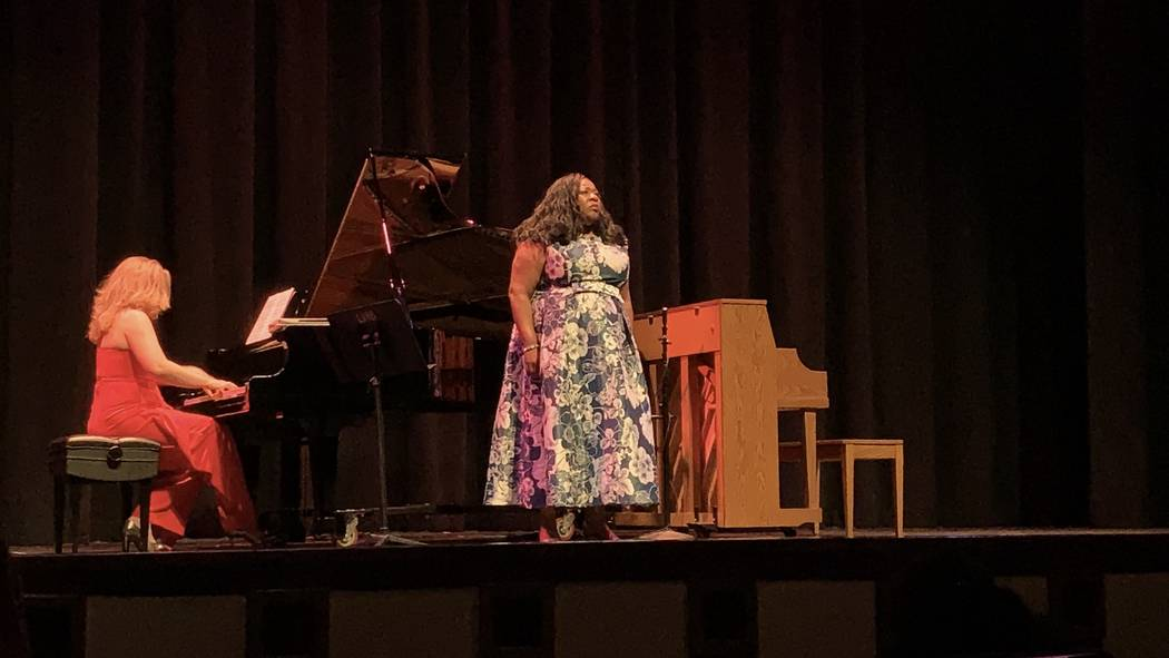 """Maria """"Masha"""" Pisarenko and Lillian Roberts perform a ballad at the """"From Russia with Love"""" ..."""