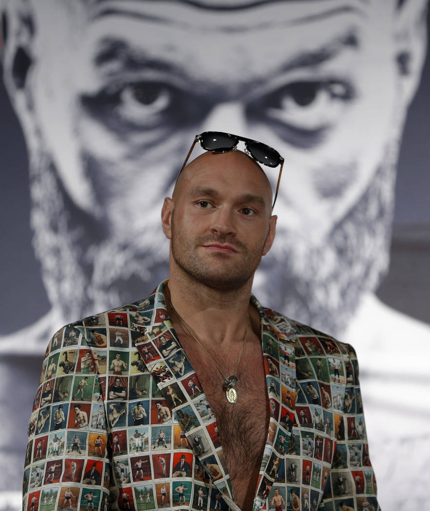 Tyson Fury, of England, attends a news conference, Wednesday, June 12, 2019, in Las Vegas. Fury ...