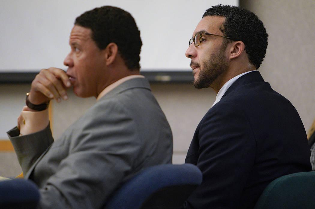 Sitting in Superior Court in Vista, Kellen Winslow, Jr., right, sits next to defense attorney, ...